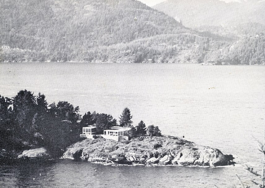 The Killam-Massey Residence at 7290 Arbutus Place, built in 1955, with Bowen Island in the background.