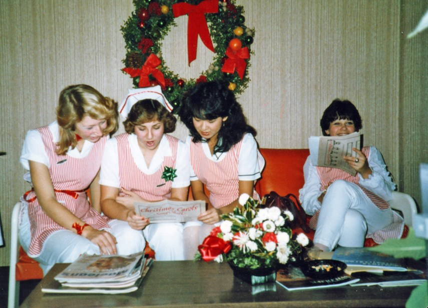 A quartet of young women, part of the Auxiliary to the Lions Gate Hospital's Candy Stripers unit, who provided child-minding services to visitors, take a break circa 1980. The auxiliary is celebrating its 100th anniversary in 2021.