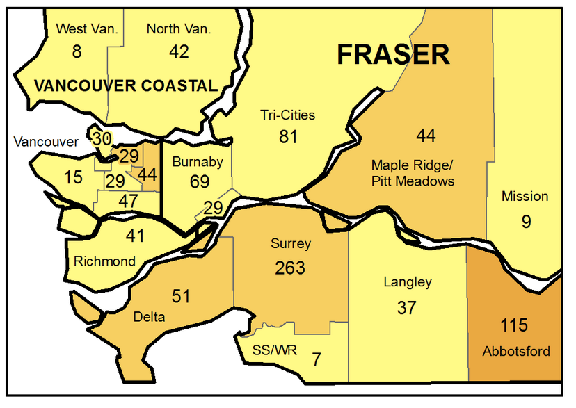 A map showing the geographic breakdown of new COVID-19 infections in the Lower Mainland for the week ended June 5, 2021.