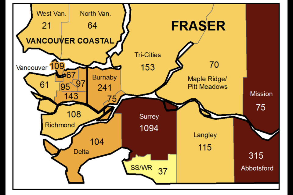 A map shows the geographical breakdown of new COVID cases in the Lower Mainland for the week ending May 15, 2021.