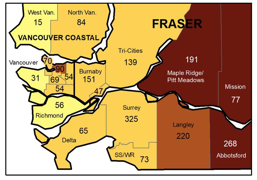 COVID map Lower Mainland Oct2, 2021