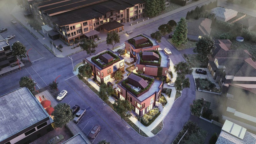 An artists rendering of what a proposed eight-unit townhouse development on Edgemont's Canfield Crescent would look like.