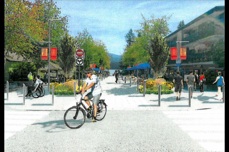A rendering of lower Gallant Avenue during peak summer season shows more outdoor seating.