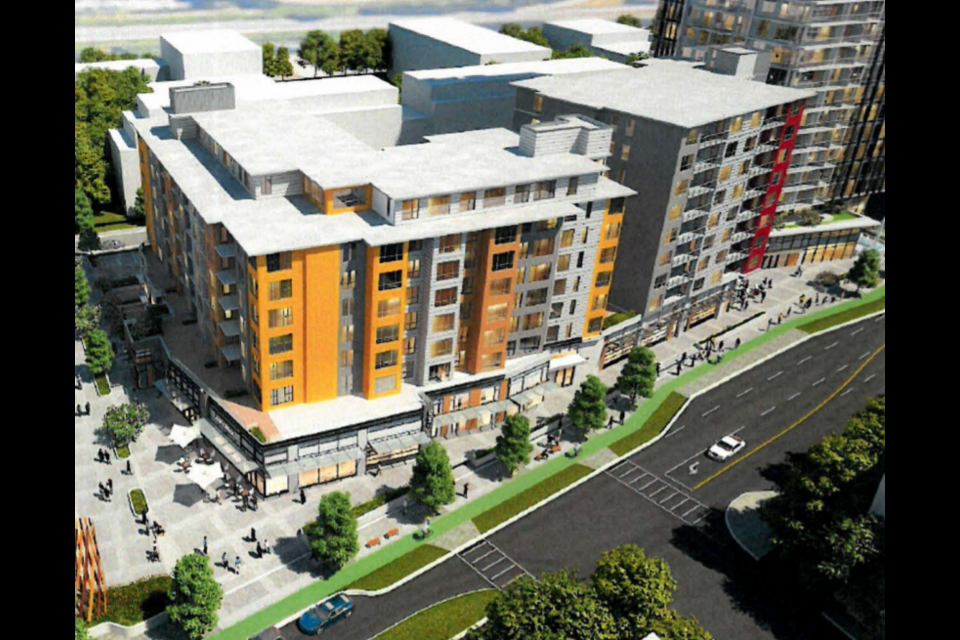 A design rendering shows the revised rendering for the mixed-use development at 1510-1530 Crown St. and 420-460 Mountain Hwy.
