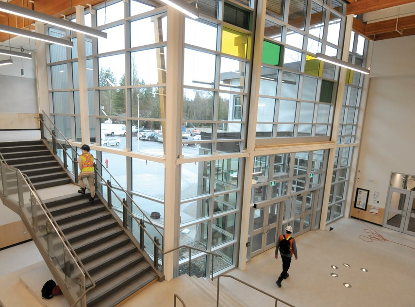 The entrance atrium inside the new Ecole Argyle Secondary, pictured in December.