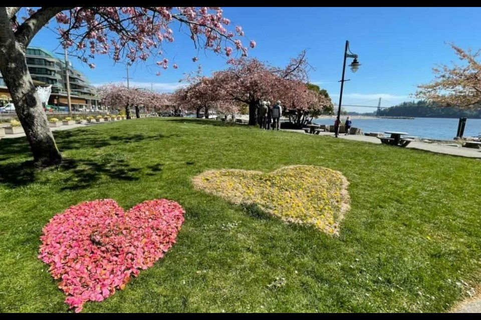 Three brightly coloured flower-petal hearts were spotted near Ambleside Pier on April 21, 2021.