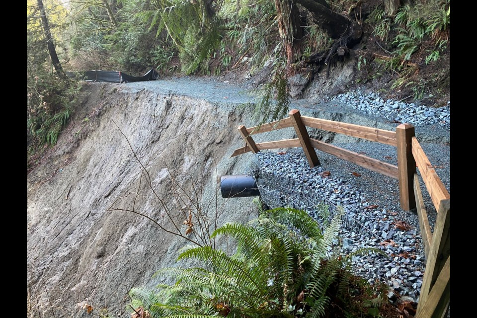 A section of a walking trail next to the Capilano River collapsed in a landslide Wednesday afternoon.
