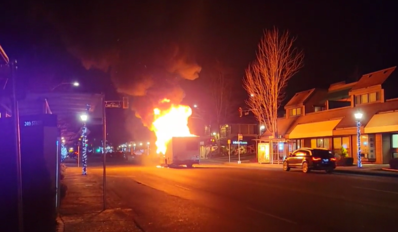 Fire crews were called to the scene in Dundarave, at Marine Drive and 24th Street, about 9 p.m. to find the RV engulfed in fire.