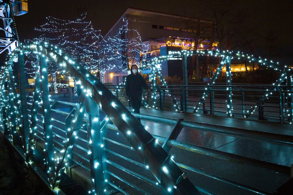 The Spirit of the Season lights will add festive cheer to The Shipyards until Jan. 4 from sunset onwards. photo City of North Vancouver