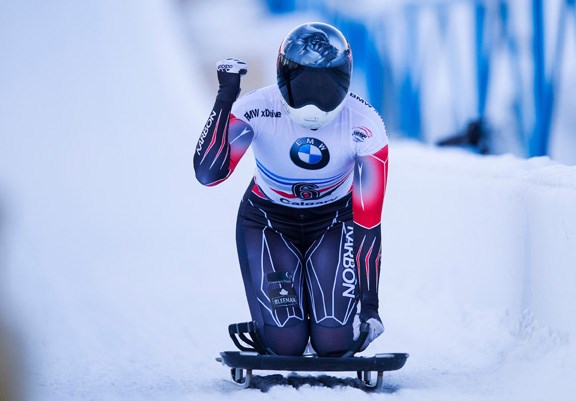 North Vancouver's Jane Channell reacts to her finish during a Skelton World Cup race in Calgary in 2019. Channell scored a World Cup bronze medal today in Germany.