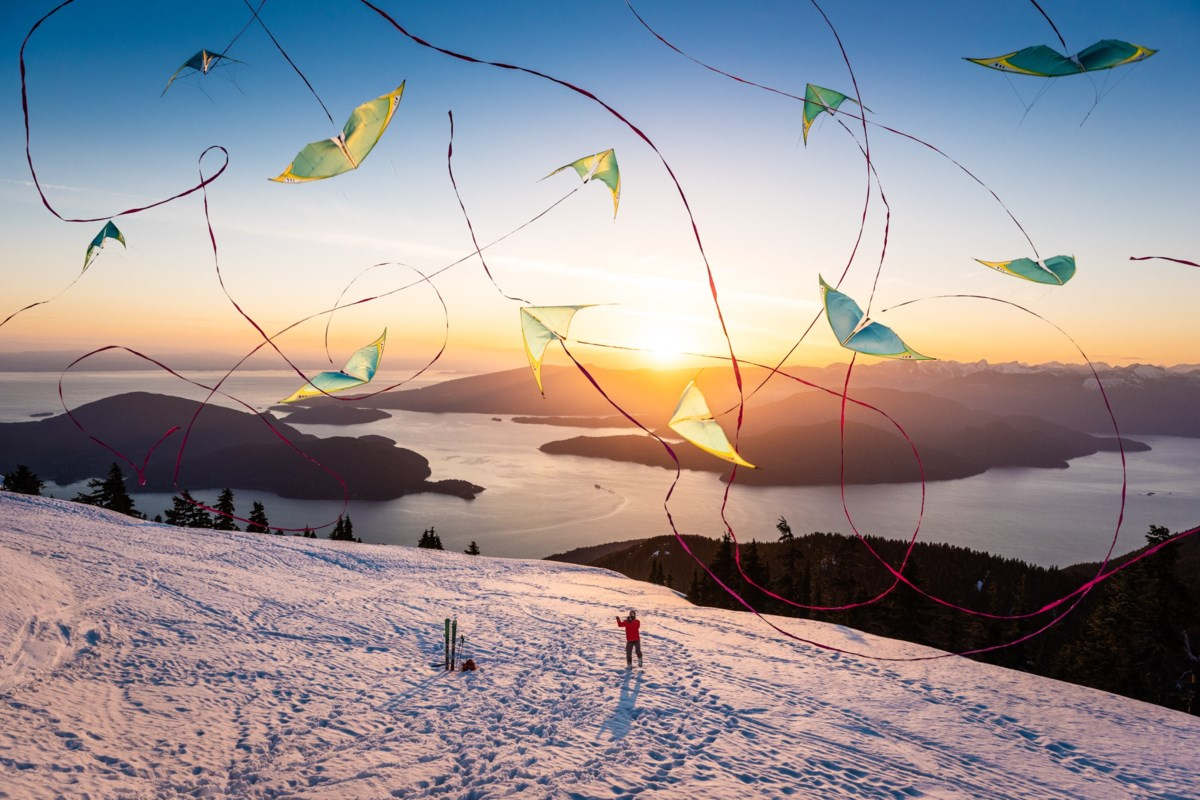 Vancouver photographer lifts spirits with stunning composite image of kite on Mount Strachan