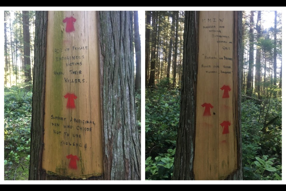 These trees with powerful succinct messages about Missing and Murdered Indigenous Women and Girls can be found on the Baden Powell Trail in the Lower Seymour Conservation Reserve.
