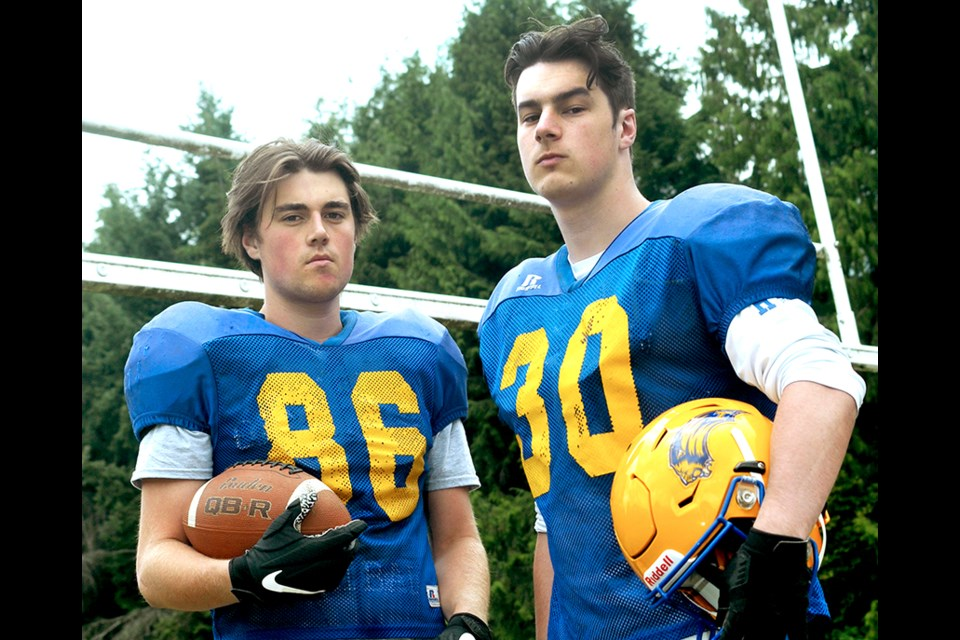 Grade 12 Handsworth Royals football team members Brennan Madill (left) and Ben Patillo put their game faces on in anticipation of their first game in almost two years.