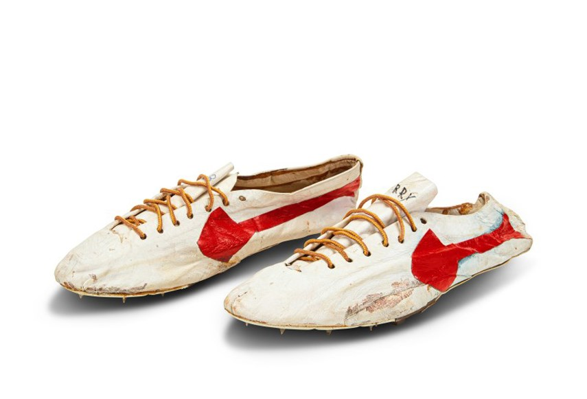 Shoes made for Canadian Olympic Hall of Famer Harry Jerome by the co-founder of Nike go up for auction through Sotheby's on July 23, 2021.