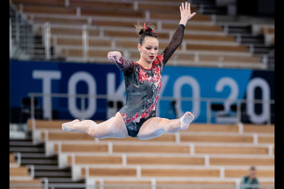 North Vancouver's Shallon Olsen competes in the qualifying rounds of the 2020 Olympic Games in Tokyo on July 25, 2021.