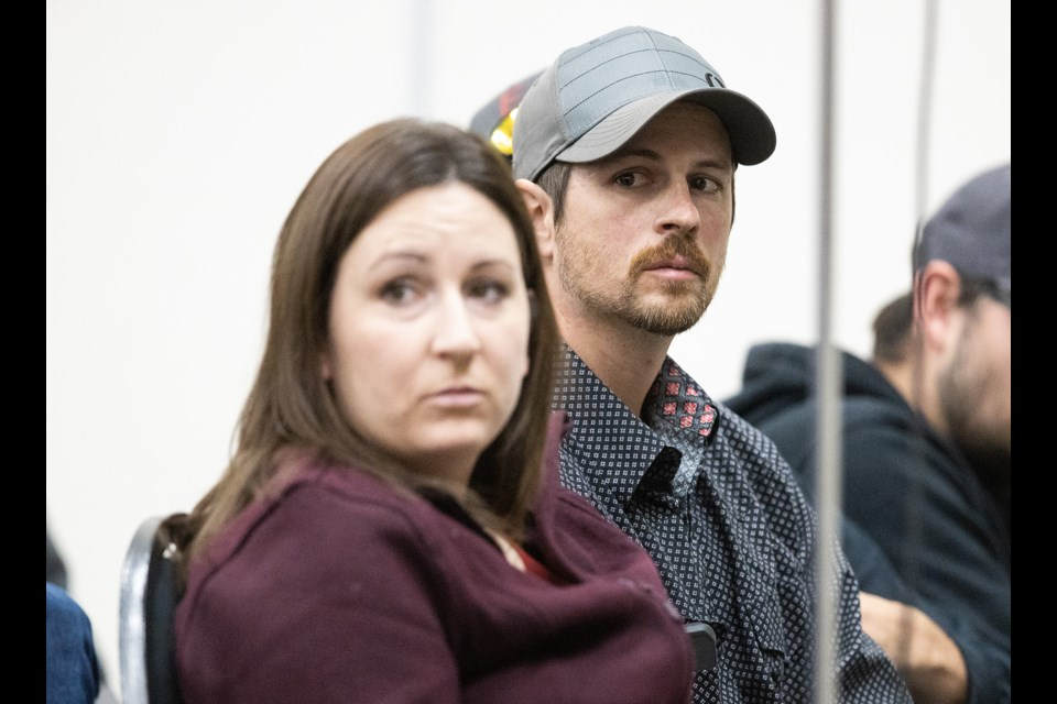 Edouard Maurice and wife Jessica, here at a rural crime town hall meeting, have filed a $150,000 counterclaim against Ryan Watson. (BRENT CALVER/Western Wheel)