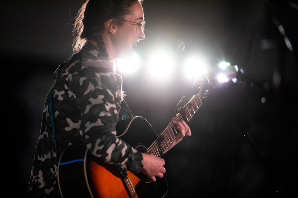 Trinity Drake performs in a talent show on Oct. 31 at the Foothills Composite High School/Alberta High School of Fine Arts. (BRENT CALVER/Western Wheel)