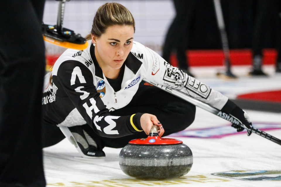 Team Vaughan second Nicole Larson throws the rock in the second end during the 2020 Sentinel Storage Alberta Scotties Tournament of Hearts at the Murray Arena in Okotoks on Jan. 22. (Evan Buhler/Western Wheel)