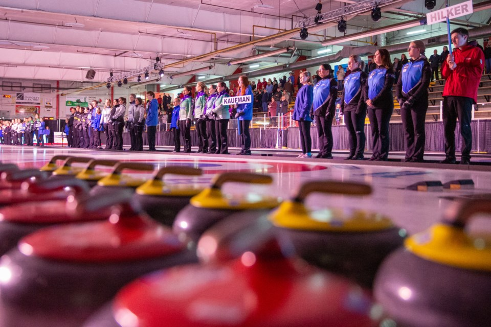 The teams are introduced during the opening ceremony of the 2020 Sentinel Storage Alberta Scotties Tournament of Hearts at the Murray Arena in Okotoks on Jan. 22. (Evan Buhler/Western Wheel)