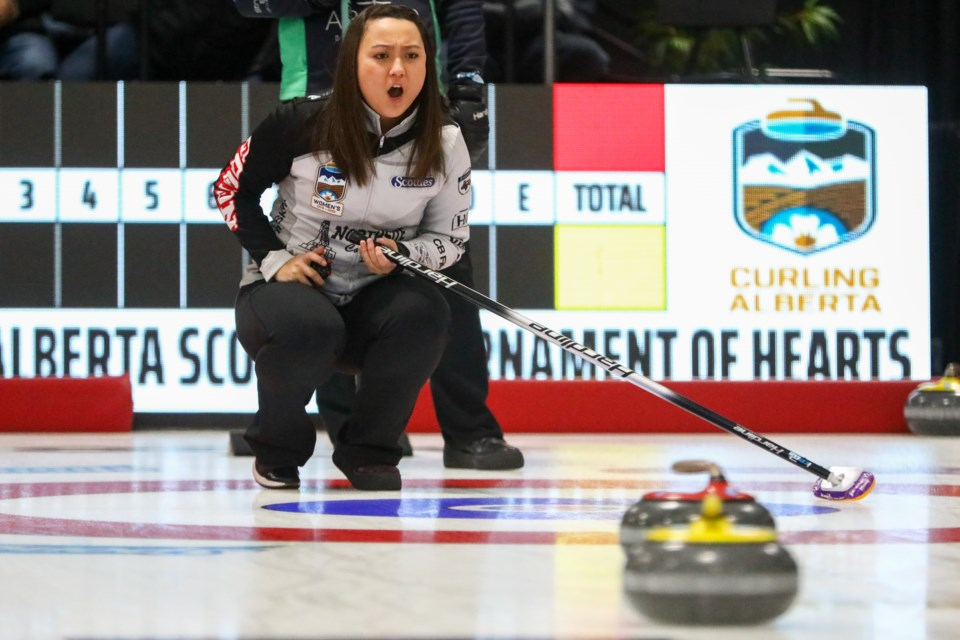 Skip Kayla Skrlik yells out to her teammates to sweep during third draw of the 2020 Sentinel Storage Alberta Scotties Tournament of Hearts at the Murray Arena in Okotoks on Jan. 23. (Evan Buhler/Western Wheel)