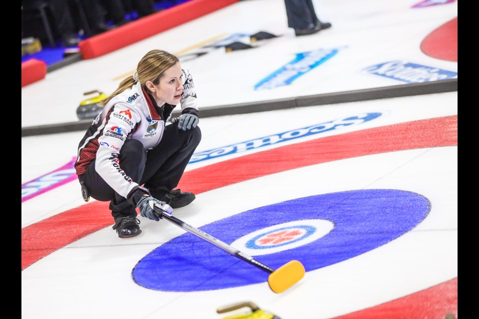 Team Walker skip Laura Walker calls from the back of the house during draw 5 of the 2020 Alberta Scotties at Murray Arena in Okotoks on Jan. 24. (Brent Calver/Western Wheel)