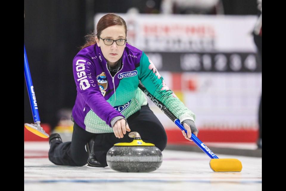 Team Kaufman skip Nicky Kaufman throws during draw 5 of the 2020 Alberta Scotties at Murray Arena in Okotoks on Jan. 24. (Brent Calver/Western Wheel)