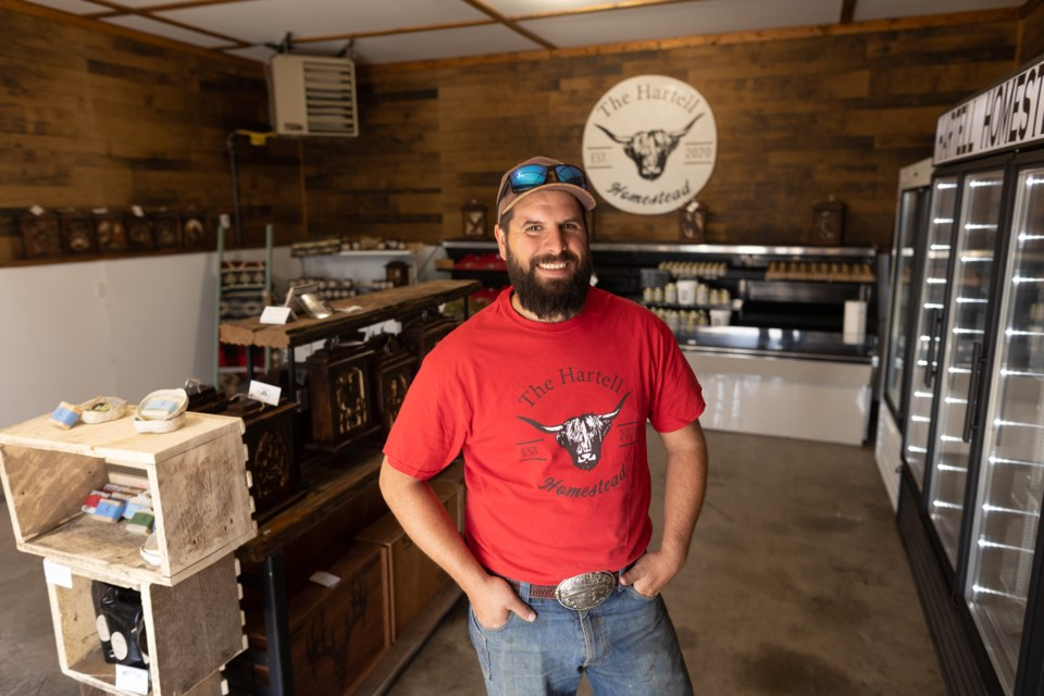 Nick Shipley in his shop at Hartell Homestead on May 6. Shipley will be opening up the agri-tourism business on May 15, including a farm and store.