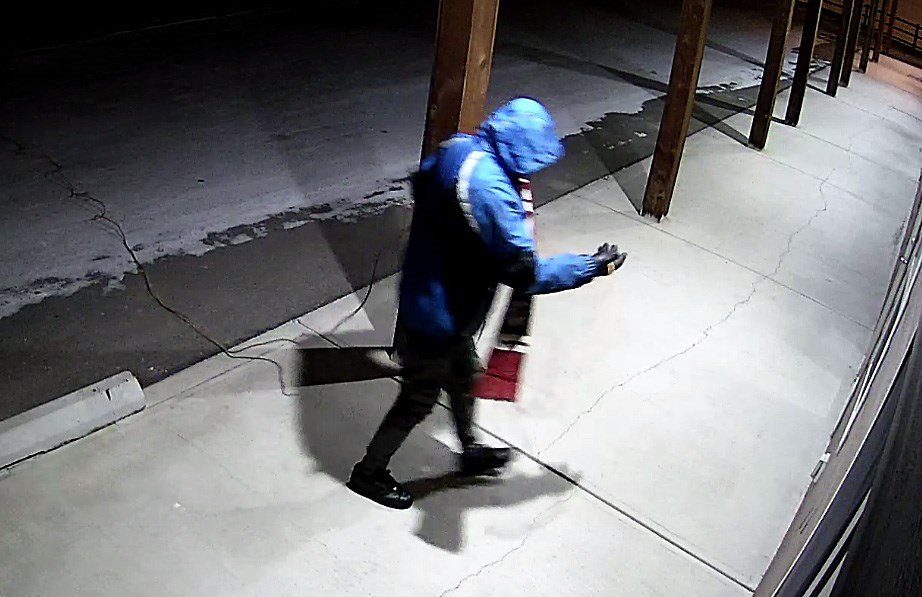 Turner Valley RCMP is looking for help to identify this individual suspected of stealing catalytic converters from two trucks in Black Diamond's industrial park on Jan. 17. (Photo courtesy of the Turner Valley RCMP)