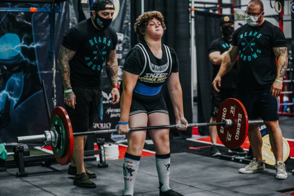 Hayden Hampton, 13, set a WRP world record for his deadlift of 225 pounds at the Shellshock powerlifting event in Edmonton in November. (Photo by Jimmy Walsh)