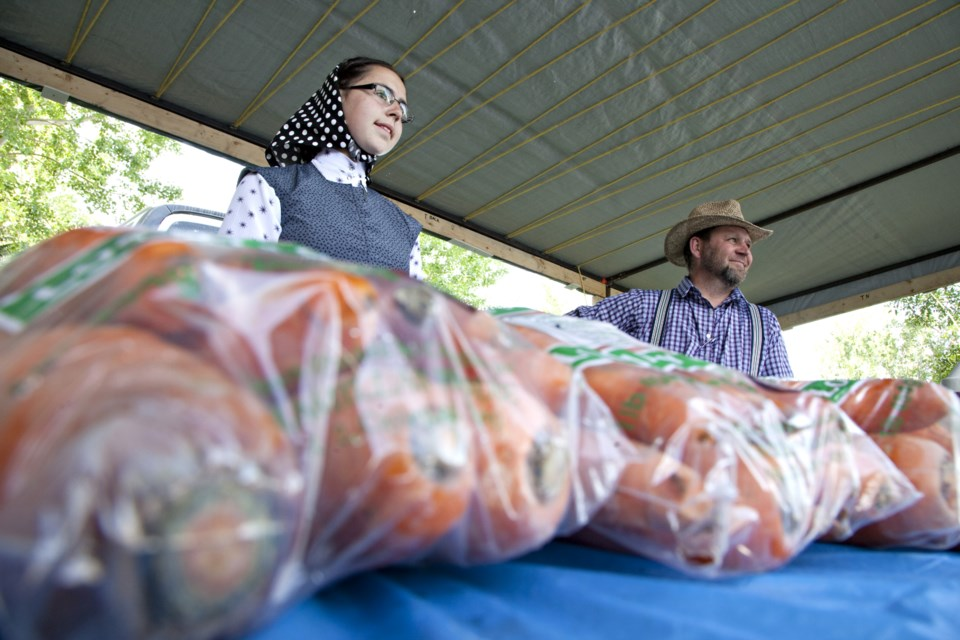The Macmillan hutterite colony sell fresh vegetables grown without pesticides or herbicides at the Okotoks Farmers' Market. (Wheel File Photo)