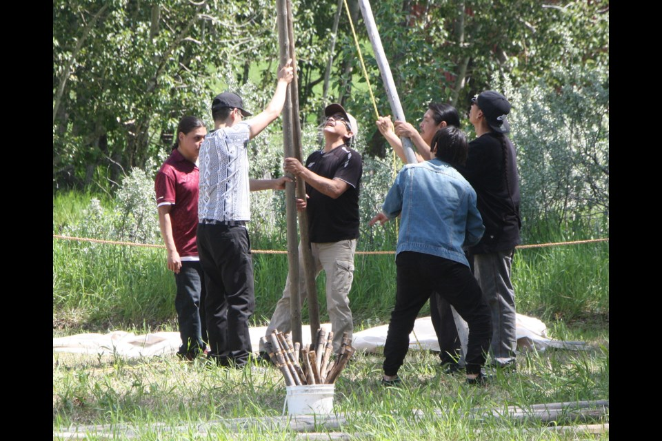 Several people work together to get the first three poles of the teepee up during last week's ceremony. TAMMY ROLLIE WESTERN WHEEL PHOTO