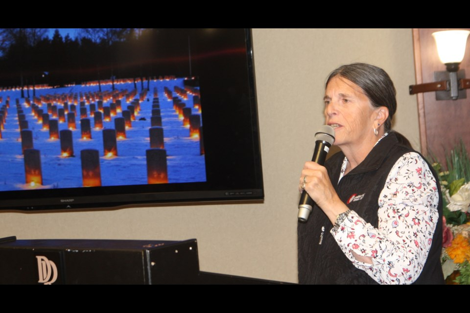 Susan Raby-Dunne of Canadian War History Tours speaks at the Okotoks and District Chamber of Commerce's Shameless Plug luncheon on Sept. 25 about her guided tours through Europe dealing with the First and Second World Wars. (Photos by Bruce Campbell/Western Wheel)