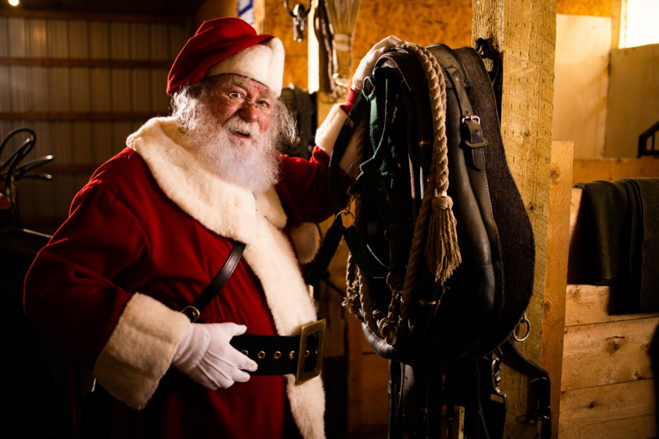 Santa Claus gets his gear in order on Oct. 25. (BRENT CALVER/Western Wheel)