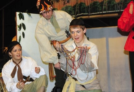 Riches are found during a rehearsal of the Oilfields High School's production of Treasure Island showing this Thursday through Saturday in Black Diamond. From left: