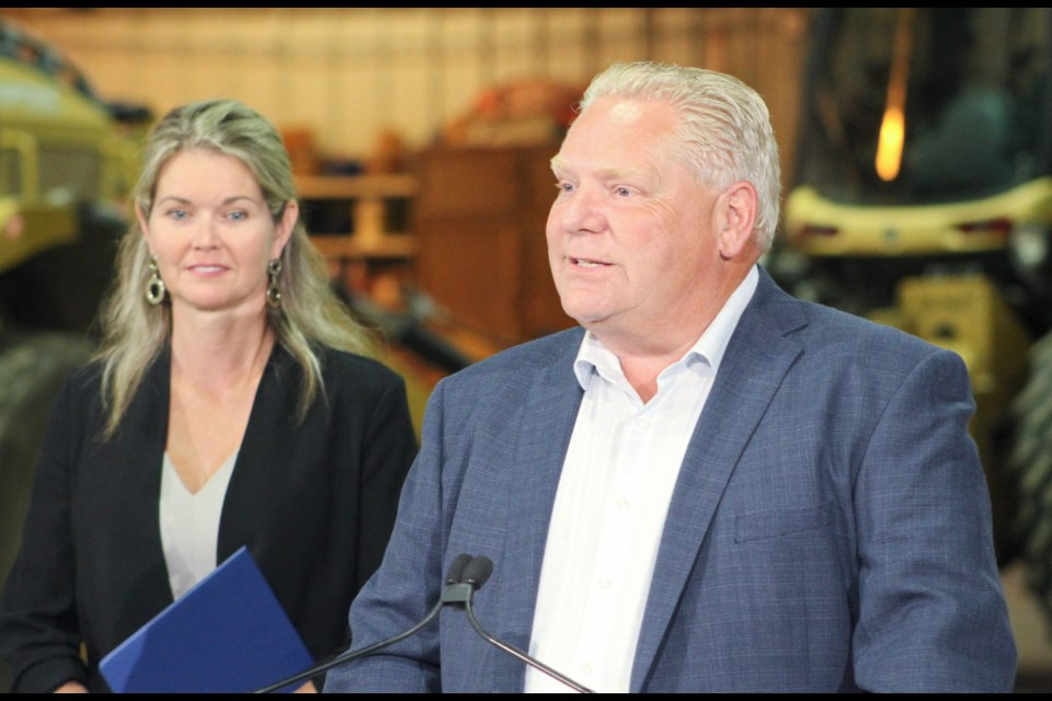Simcoe North MPP Jill Dunlop and Premier Doug Ford are shown Thursday at the Municipal Operations Centre in Orillia, where Ford announced $5.4 million in funding for Orillia Transit. Nathan Taylor/OrilliaMatters