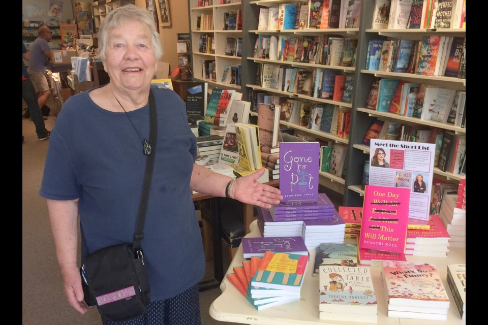 Jennifer Craig won the 2018 Leacock Medal for Humour for her book, Gone to Pot. She is pictured at Manticore Books in downtown Orillia. The day before the gala, she suffered a stroke and faces a long recovery. Mehreen Shahid/OrilliaMatters