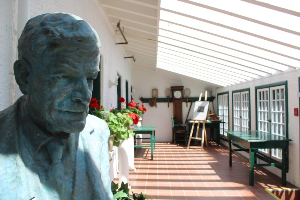 A bust of Stephen Leacock sits in the sunroom of the late humorist's home in Orillia. Nathan Taylor/OrilliaMatters