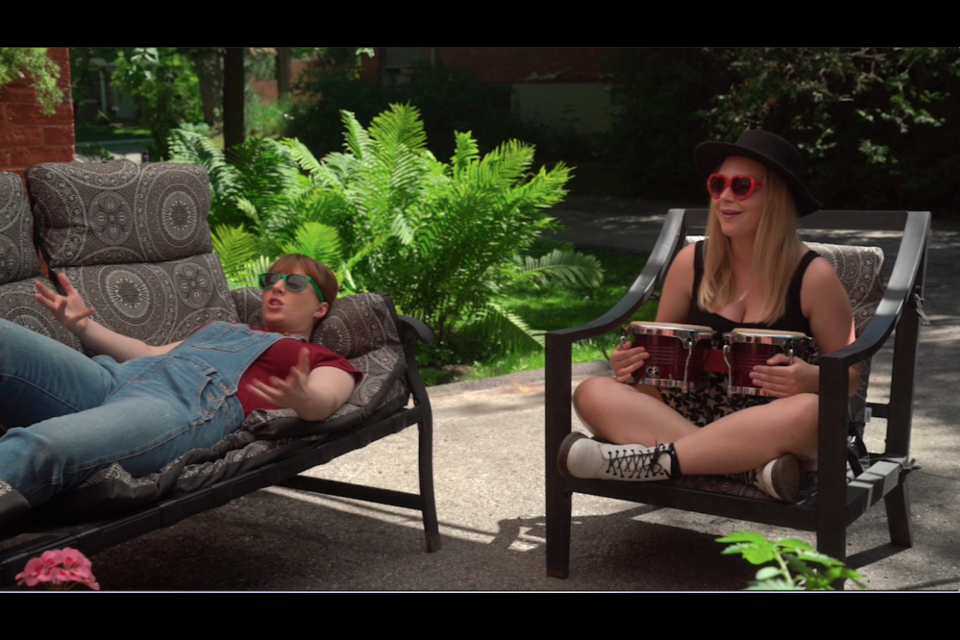 Eve and Eileen (Sadie Stranks) are shown from episode one of Eileen's Garden. The episode was filmed in the Orillia backyard of Stranks' parents' home.