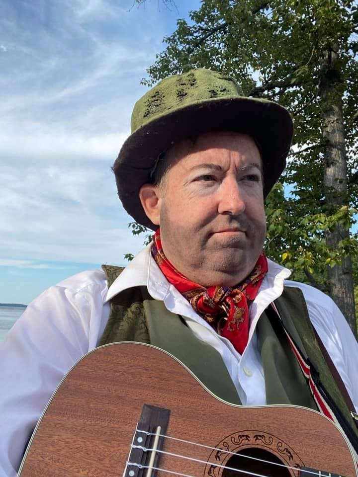 Kevin Scharf as Feste, the fool, in Shakespeare's Twelfth Night, opening tonight at the Stephen Leacock Museum