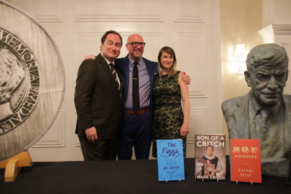 This is the trio shortlisted for the 2019 Stephen Leacock Medal for Humour. From left, Mark Critch, Cathal Kelly, and Ali Bryan. Kelly was this year's victor but the Leacock Associates are the big winner thanks to a new endowment fund. Mehreen Shahid/OrilliaMatters