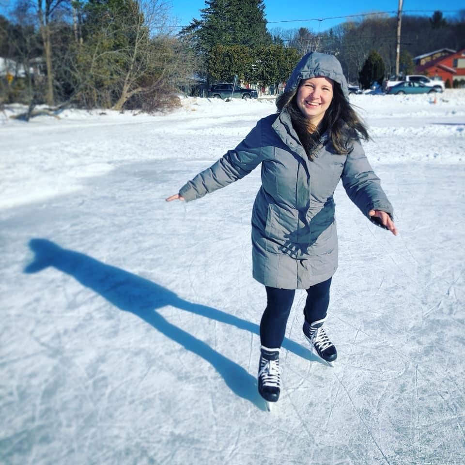 Marta Solek, a true Canadian now, skating on Bass Lake. Credit Marta Solek