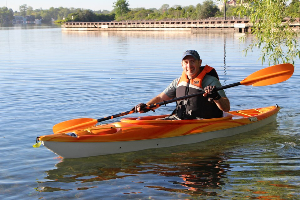 Losing his daily cycling commute because of COVID-19 restrictions requiring Chris Tomasini to work at home has motivated him to add kayaking to his early-morning routine. Kathy Hunt/OrilliaMatters