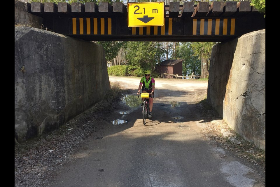 Here is your columnist taking a side trip on the around the lake cycling route to explore an old railway near Portage Bay Road in Ramara.