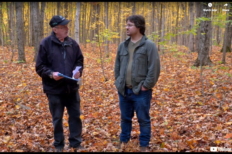 Co-instructors Bob Bowles, left, and Luke Eckstein visit local forests to produce instructional videos for a series of mushroom workshops offered as part of the Ontario Master Naturalist Program.