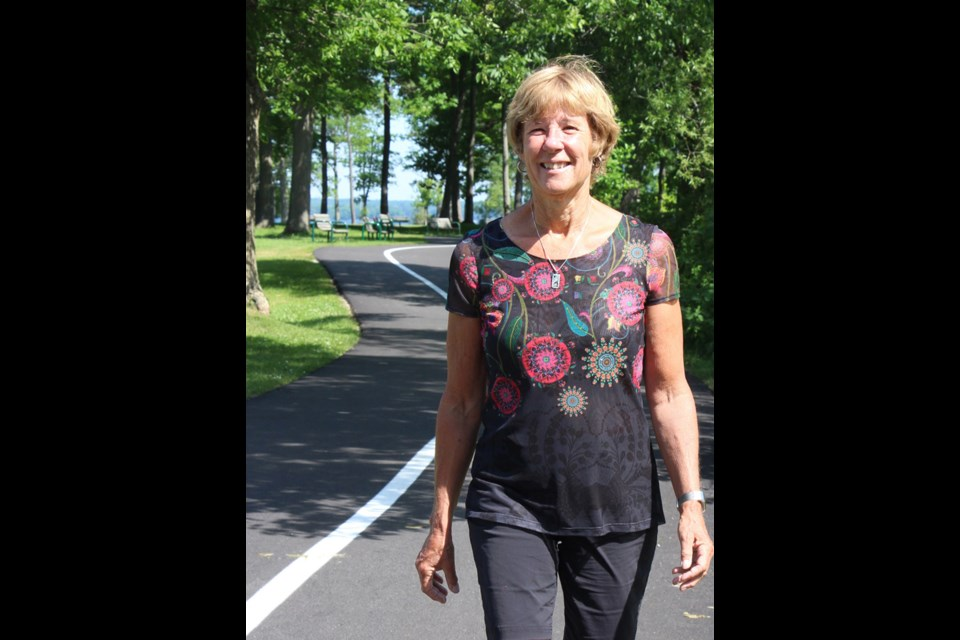 Pam Carter's daily morning walks are more than an exercise regime for the president and coordinator of the Mariposa Folk Festival. Kathy Hunt/OrilliaMatters