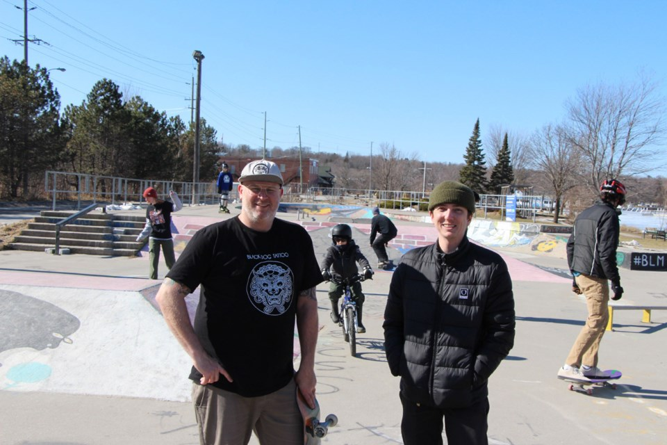 Mark Watson, left, and Dylan Court are regulars at Orillia's skatepark and have also been instrumental in starting the Orillia Skateparkers group to advocate and raise funds for a new skate park to accommodate the growing interest in the sport.