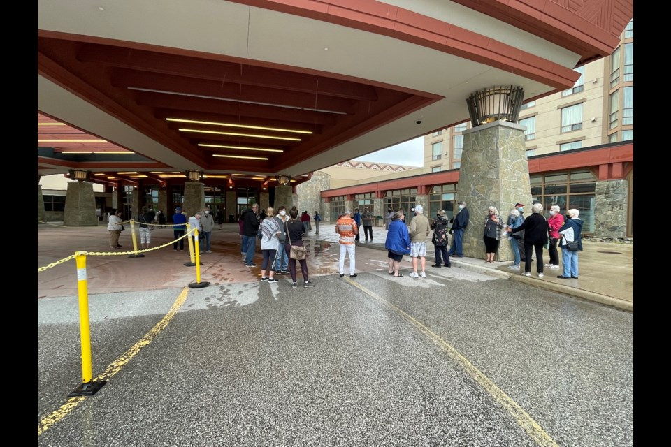 About 30 people waited outside on Thursday morning in anticipation of the Casino Rama's re-opening.