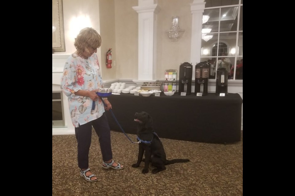 Dr. Liz Saul brought a dog in training, Red, from COPE service dogs, to this week's meeting of the Orillia Business Women's Association. Supplied photo