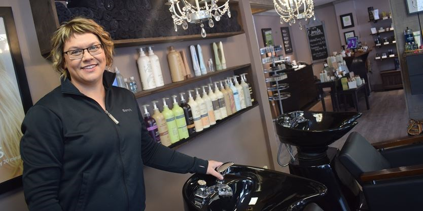 Allison Abbott, owner of The Dragonfly Room welcomes people to her salon on Matchedash Street. Contributed photo