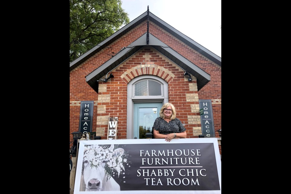 The Flowered Cow owner Michele Duivenvoorden outside the restored Church in Craighurst. Emily Baillie Photo